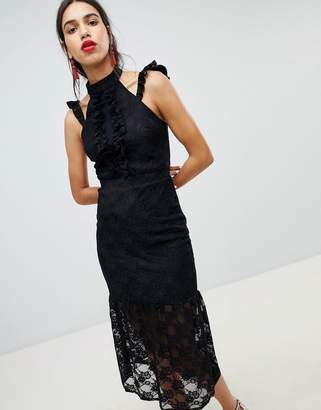 Lost Ink Lace Midi Dress In Bodycon With Frill Placket