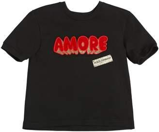 Dolce & Gabbana Amore Patch Cotton Jersey T-Shirt