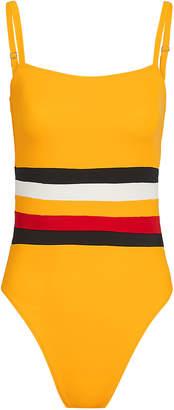 Solid & Striped X Re/Done Malibu Colorblock Mustard Stripe One Piece Swimsuit