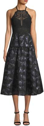 Rebecca Taylor Women's Lace-Accented Fit-and-Flare Dress
