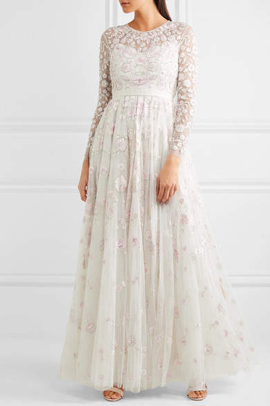 Needle & Thread - Rosette Embellished Embroidered Tulle Gown - Ivory 5