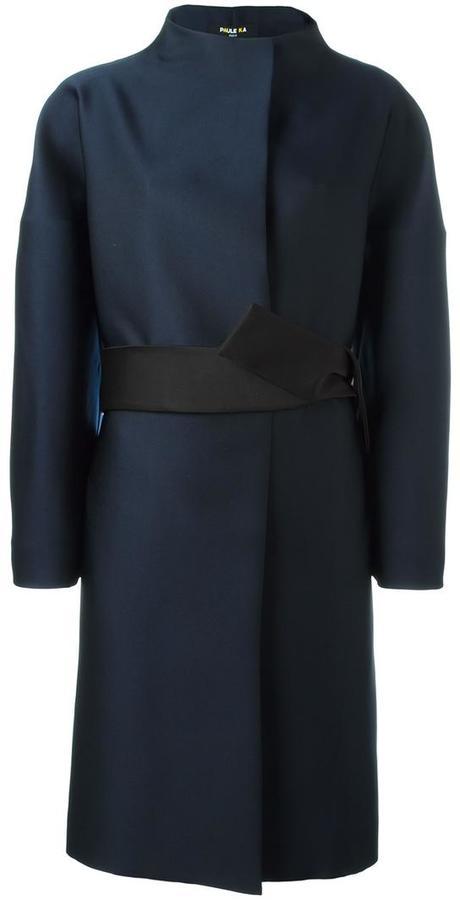Paule KaPaule Ka funnel neck belted coat