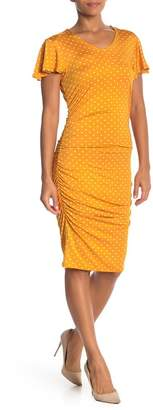 Just For Wraps Polka Dot Ruched Dress