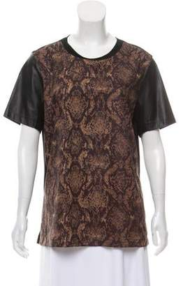34c472bafec550 Yigal Azrouel Cut25 by Leather Accented Graphic T-Shirt
