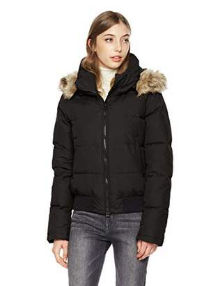 Royal Matrix Women's Classic Bomber Short Down Jacket with Removable Faux Fur (