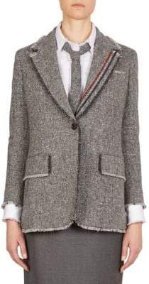 Thom Browne Stripe Wide Lapel Wool Jacket