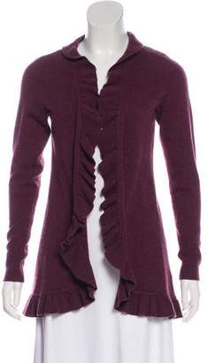 Magaschoni Ruffle-Accented Knit Cardigan