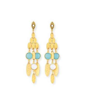 Sequin Hammered Golden Semiprecious Chandelier Earrings