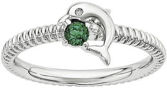 FINE JEWELRY Lab-Created Emerald and Diamond-Accent Sterling Silver Stackable Dolphin Ring
