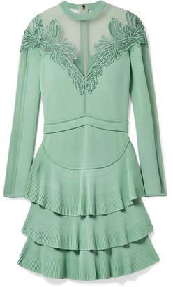 Elie Saab Appliquéd Tulle-paneled Stretch-knit Mini Dress - Mint