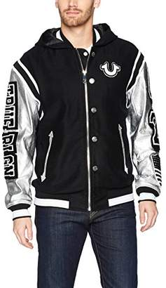 True Religion Men's Hooded Varsity Jacket