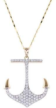 14K Diamond Anchor Pendant Necklace