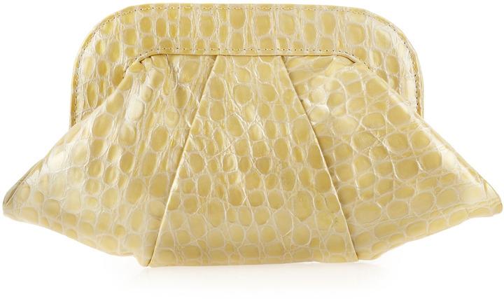 Lauren Merkin Pearly Crocodile-Embossed Clutch Bag