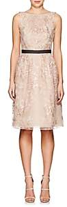 J. Mendel Women's Floral-Embroidered Tulle Belted Cocktail Dress - Pink