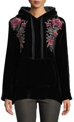 Johnny Was Petite Marmont Velvet Hoodie w/ Floral Embroidery