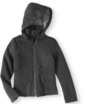 Yoki Girls' Fleece Zip Up Hooded Jacket With Quilting