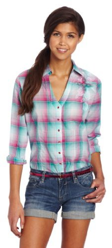 Wrangler Juniors Long Sleeve Y-Neck Woven Shirt
