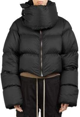 Rick Owens Funnel-Neck Cropped Puffer Jacket