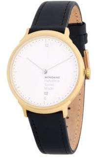 Mondaine Leather Strap Watch