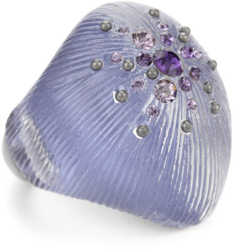 """Kenneth Cole New York """"Modern Orchid"""" Purple Pave Stretch Resin Ring"""