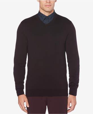 Perry Ellis Men's End-On-End Stripe V-Neck Sweater