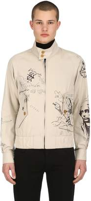 Burberry Painted Light Gabardine Bomber Jacket