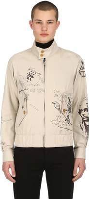 Burberry Painted Light Gabardine Bomber Jacket
