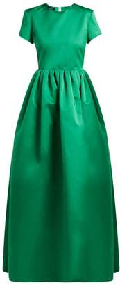 Rochas Gathered Duchess Satin Gown - Womens - Green