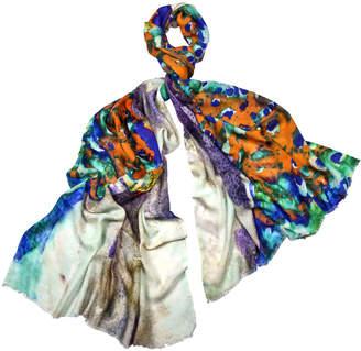 Mitandio Watercolor Peacock Silk & Wool Scarf