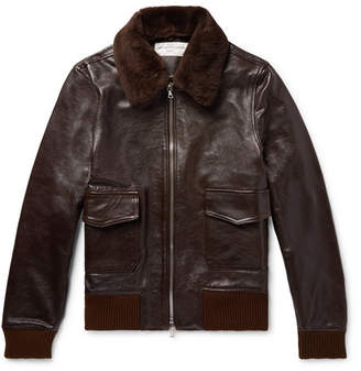 Officine Generale John Shearling-Trimmed Full-Grain Leather Bomber Jacket