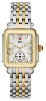 Michele Deco Two-Tone Diamond Marker Rectangular Bracelet Watch