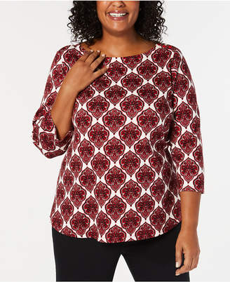 Charter Club Plus Size Cotton Printed T-Shirt