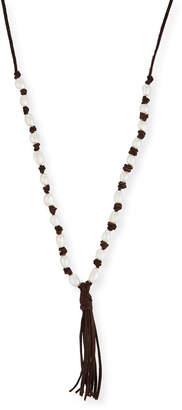 Hipchik Long Beaded Tassel Pendant Necklace, Brown/White