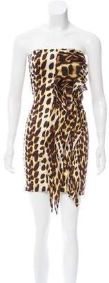 Just Cavalli Strapless Printed Dress