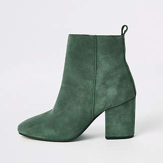 River Island Green leather square toe boots