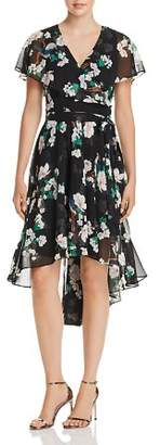 Eliza J Floral Print Faux-Wrap High/Low Dress