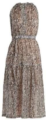 On The Island - Terra Animal Print Cotton Voile Dress - Womens - Blue Print
