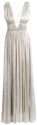 Jonathan Simkhai Plisse Lame Open Back Maxi Dress