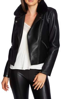 1 STATE 1.STATE Faux Fur Collar Moto Jacket