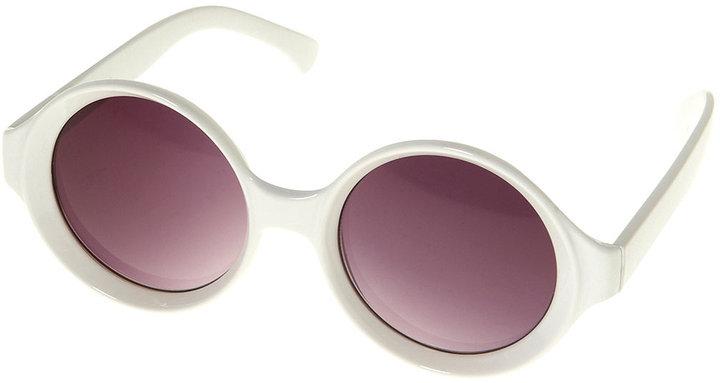 White Plastic Oversize Saucer Shape Sunglasses