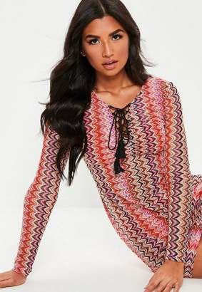 Missguided Nude Chevron Long Sleeve Lace Up Cover Up
