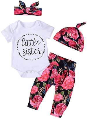 Aalizzwell 4Pcs/3Pcs Baby Girls Little Sister Bodysuit Tops Floral Pants Bowknot Headband Outfits Set (12-18 Months, )