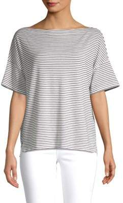 Vince Striped Boatneck Cotton Tee
