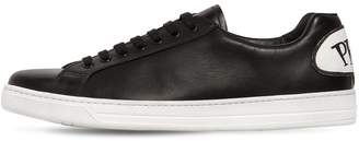 Prada Avenue Leather Sneakers With Logo Patch