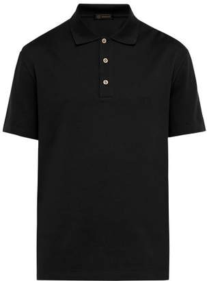 Versace Medusa Crystal Button Cotton Pique Polo Shirt - Mens - Black