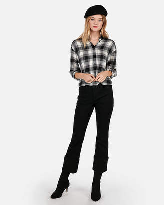 Express Boxy Beaded Cropped Flannel Shirt