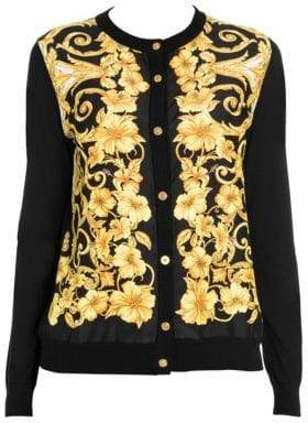 Versace Women's Hibiscus Print Silk Cardigan - Black Gold - Size 48 (12)