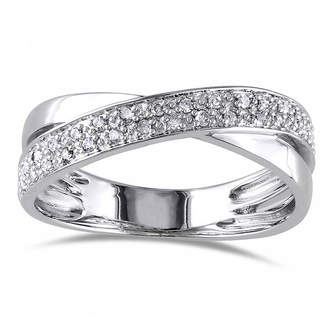 FINE JEWELRY 1/6 CT. T.W. Diamond Sterling Silver Criss-Cross Ring