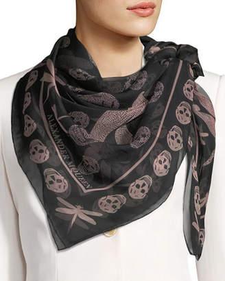 Alexander McQueen Dragonfly & Skull Silk Scarf