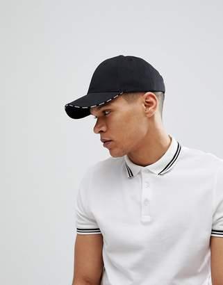 Asos Baseball Cap In Black With Maybe Slogan At Peak